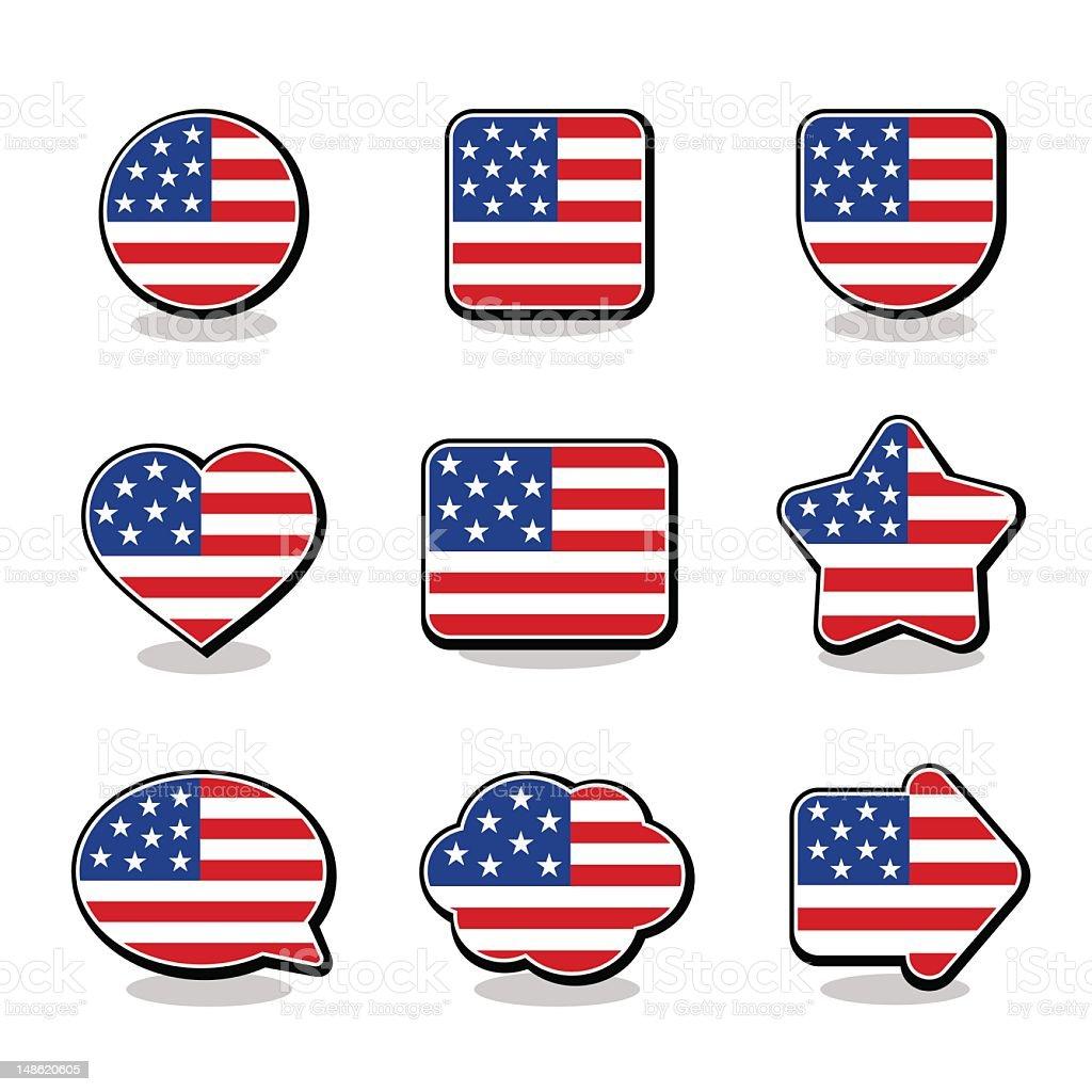 USA FLAG ICON SET vector art illustration