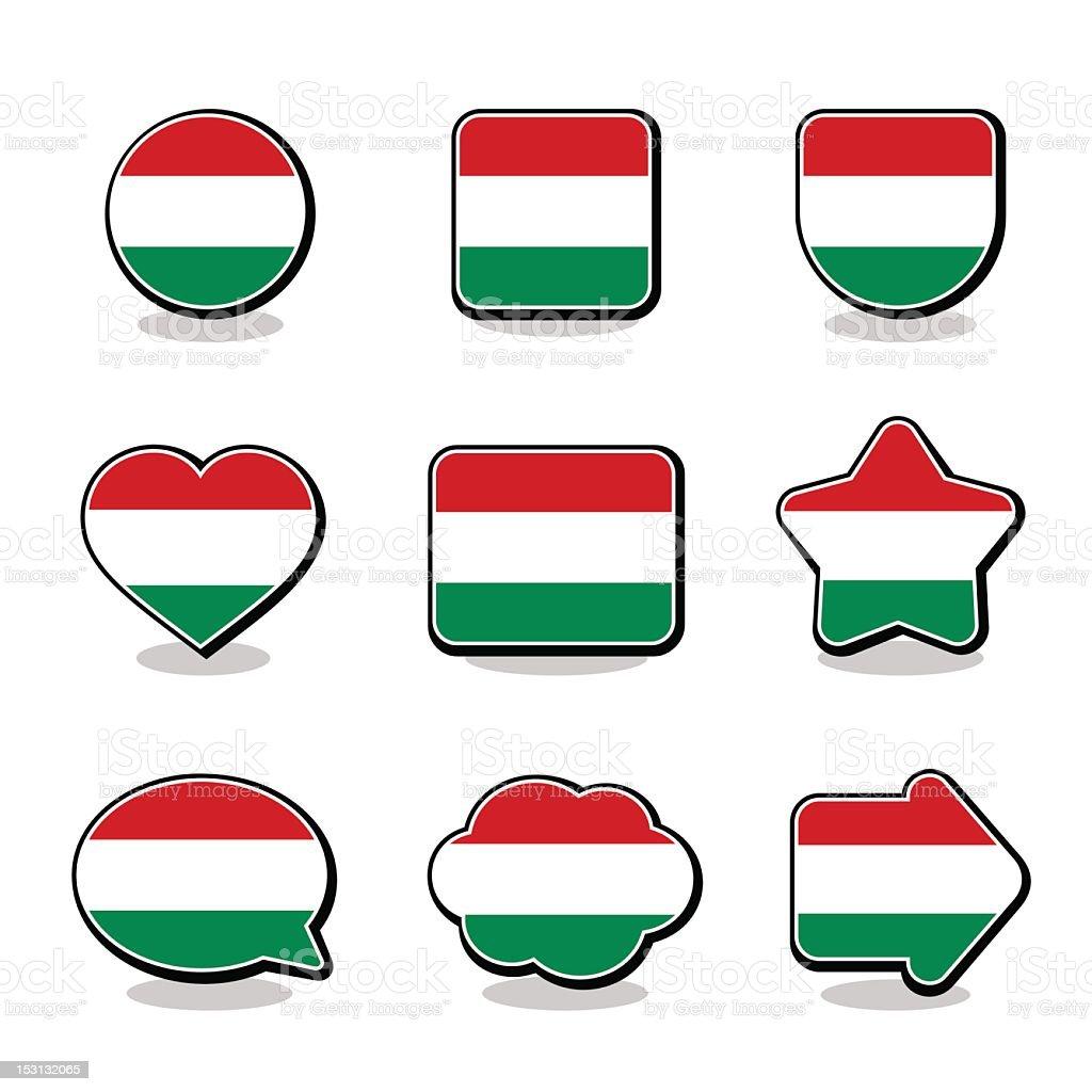 HUNGARY FLAG ICON SET royalty-free stock vector art