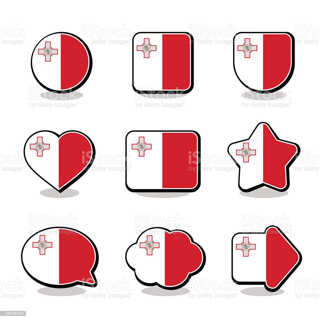MALTA FLAG ICON SET royalty-free malta flag icon set stock vector art & more images of arrow symbol