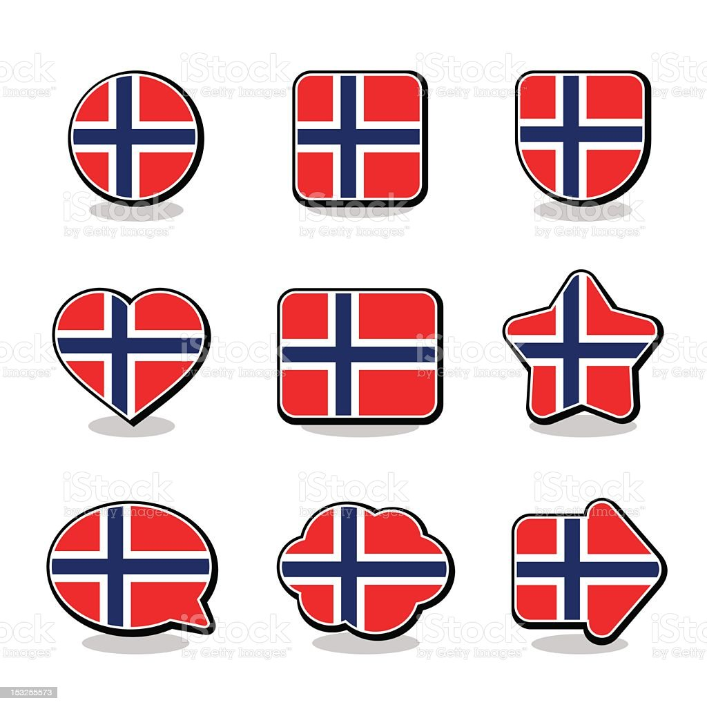 NORWAY FLAG ICON SET royalty-free stock vector art