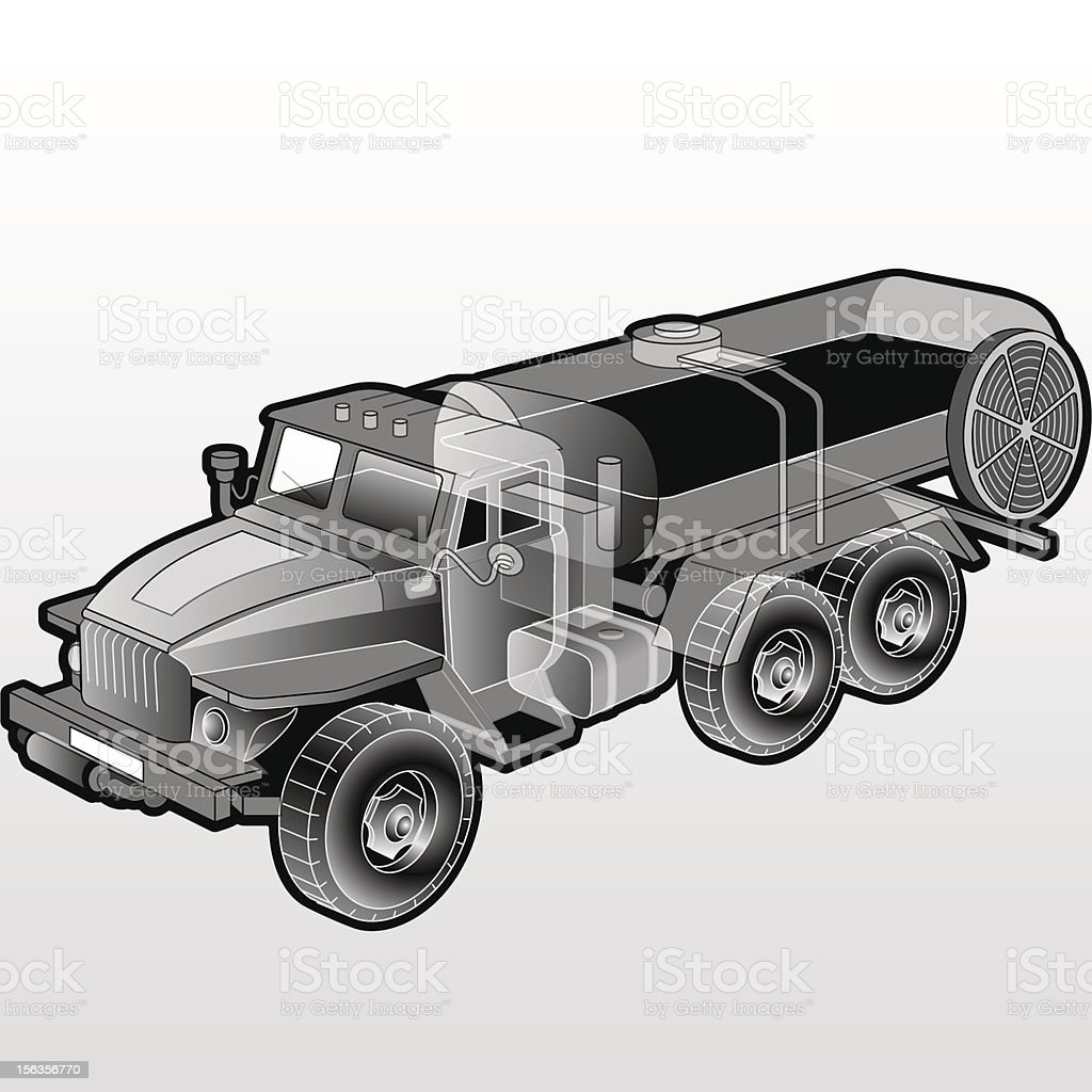 TANK TRUCK CUTAWAY royalty-free tank truck cutaway stock vector art & more images of black and white