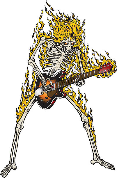 FLAMING SKELETON GUITARIST vector art illustration