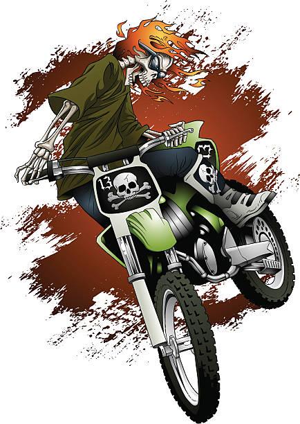 SKELETON MOTOCROSS vector art illustration