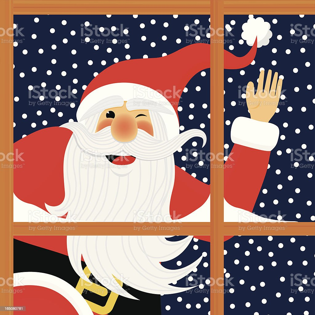 SANTA BEHIND THE WINDOW royalty-free stock vector art