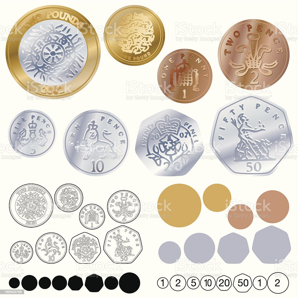 UK COINS royalty-free stock vector art