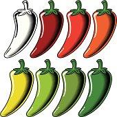 Differents colors chilis.