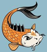 VECTOR TATTOO STYLE KOI FISH