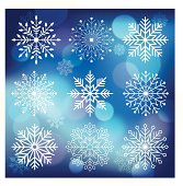 9 white snowflakes of different shapes on blue background. Each of elements can easily ungroup and remove. EPS 10 file with transparencies and blur effect. ZIP contain AI CS2 and PDF.