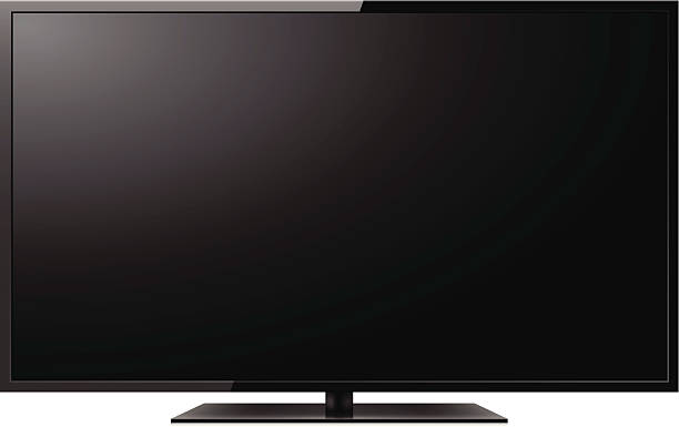 LCD TV Modern slim HDTV isolated on white background. projection screen stock illustrations