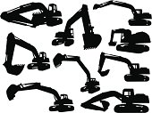 9 silhouettes of an excavator.