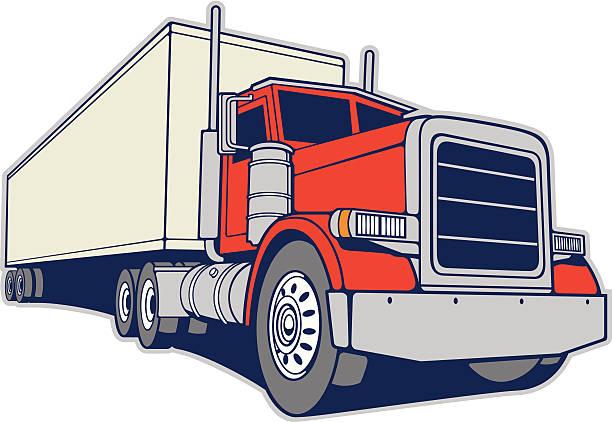 ilustraciones, imágenes clip art, dibujos animados e iconos de stock de semi camión y remolque - conductor de autobús