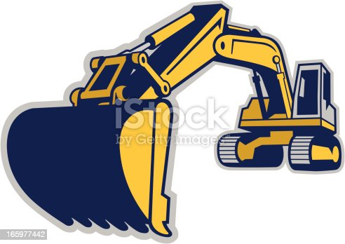 istock EXCAVATOR EXTENDS ITS BOOM TO GET A LOAD OF DIRT 165977442