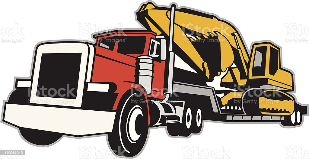 TRACTOR TRAILER royalty-free tractor trailer stock vector art & more images of agricultural machinery