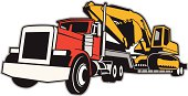 A vector illustration of a semi truck hauling an excavator.