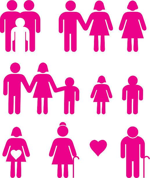 familie icons 3 - homosexuelle paare stock-grafiken, -clipart, -cartoons und -symbole