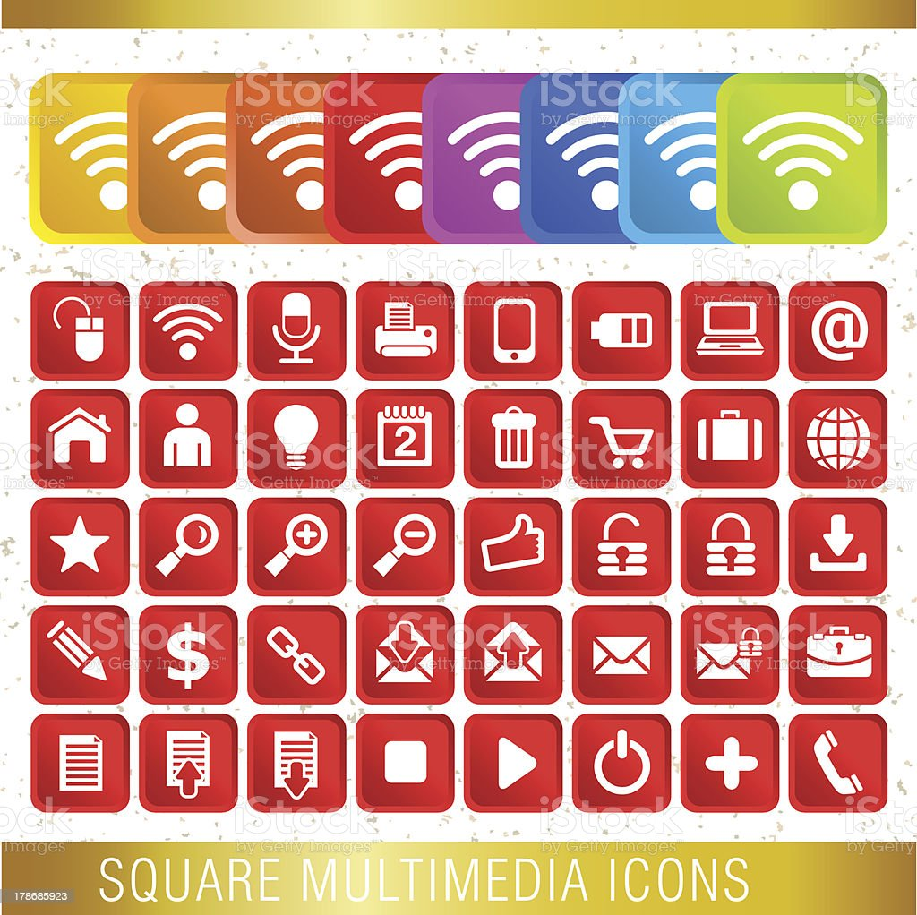 SQUARE MULTIMEDIA ICONS royalty-free stock vector art
