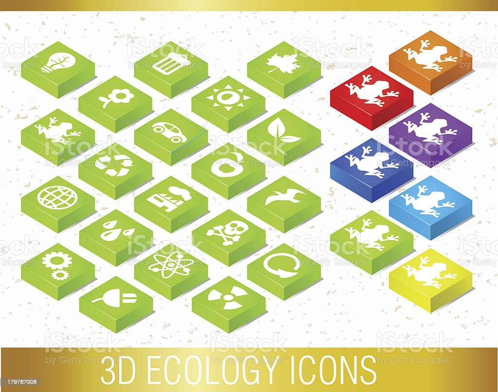 3D ECOLOGY ICONS royalty-free stock vector art