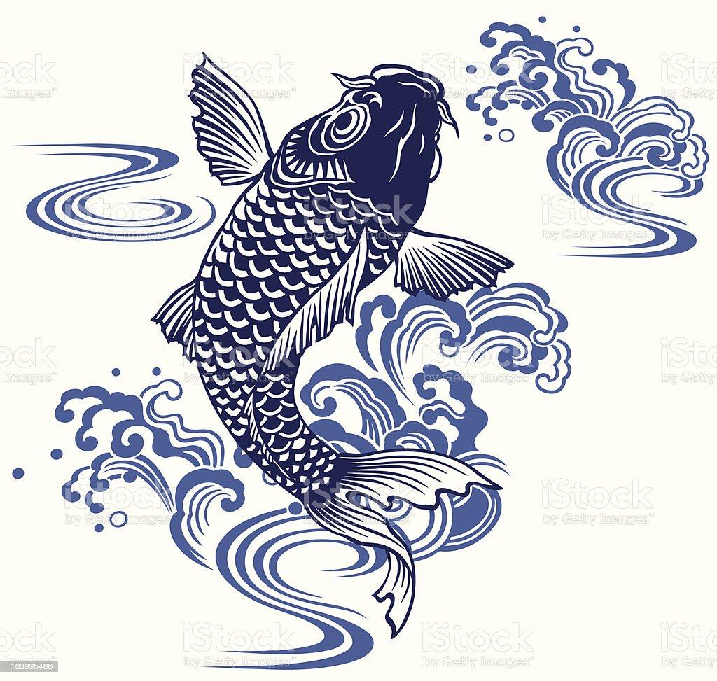 日本的な鯉 vector art illustration