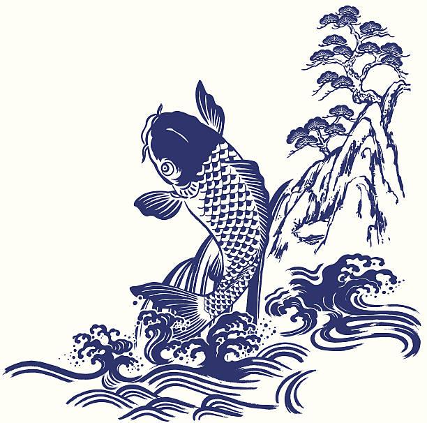 bildbanksillustrationer, clip art samt tecknat material och ikoner med 日本的な鯉 - japanskt ursprung