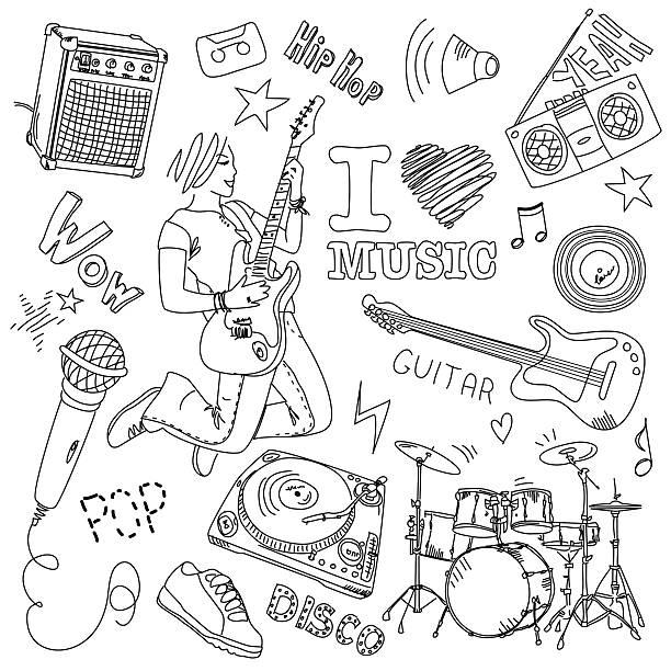 I LOVE MUSIC vector art illustration