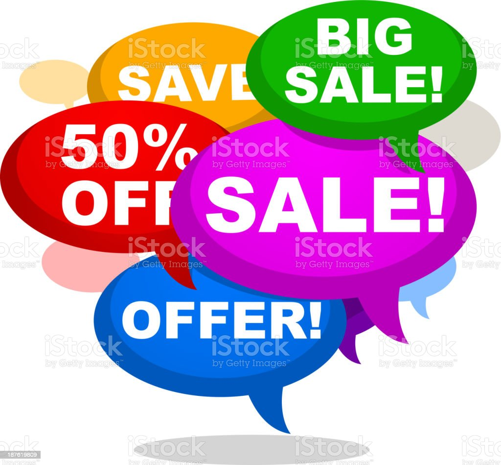 BIG SALE SAVE 50% OFF OFFER RETAIL SHOPPING vector art illustration