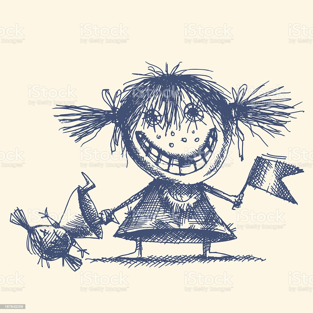 MAD GIRL vector art illustration