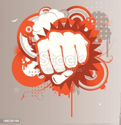 Fist and design elements, orange.