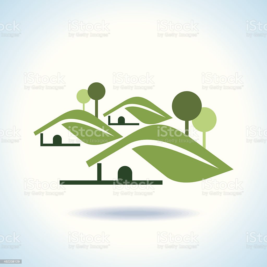 BIO GREEN HOUSES ICONS royalty-free stock vector art