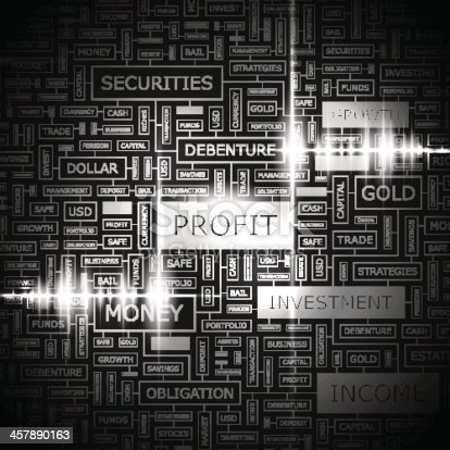 PROFIT. Concept illustration. Graphic tag collection. Wordcloud collage.