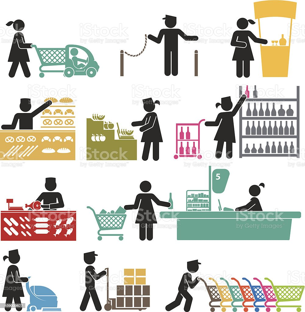 EMPLOYEES IN THE SUPERMARKET vector art illustration