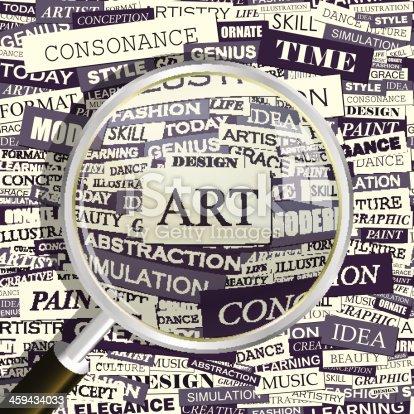 ART. Concept related words in tag cloud. Conceptual info-text graphic. Word collage.