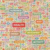 HEALTH. Seamless pattern. Concept related words in tag cloud. Conceptual info-text graphic. Word collage.