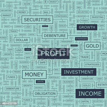 PROFIT. Word cloud illustration. Tag cloud concept collage.