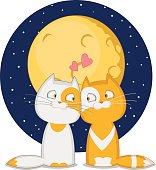 Ко дню Святого Валентина. Кошка и кот ласкаются на фоне Луны и звездного неба.