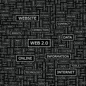WEB 2.0. Seamless pattern. Word cloud illustration.