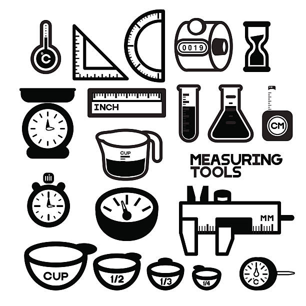 MEASURING TOOLS B/W This picture collects various devices for measuring physical or quantity. All instruments are always used as an instruments for Laboratory work, handicraft work, cooking work and etc. These instruments may range from simple objects such as rulers and stopwatch to Speedometer. measuring cup stock illustrations