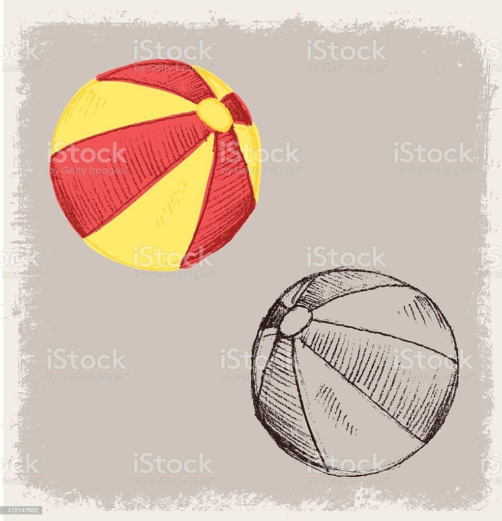 TOY BALL BEACH vector art illustration