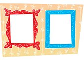 CARTOONISH PICTURE FRAMES AND WALL PAPER