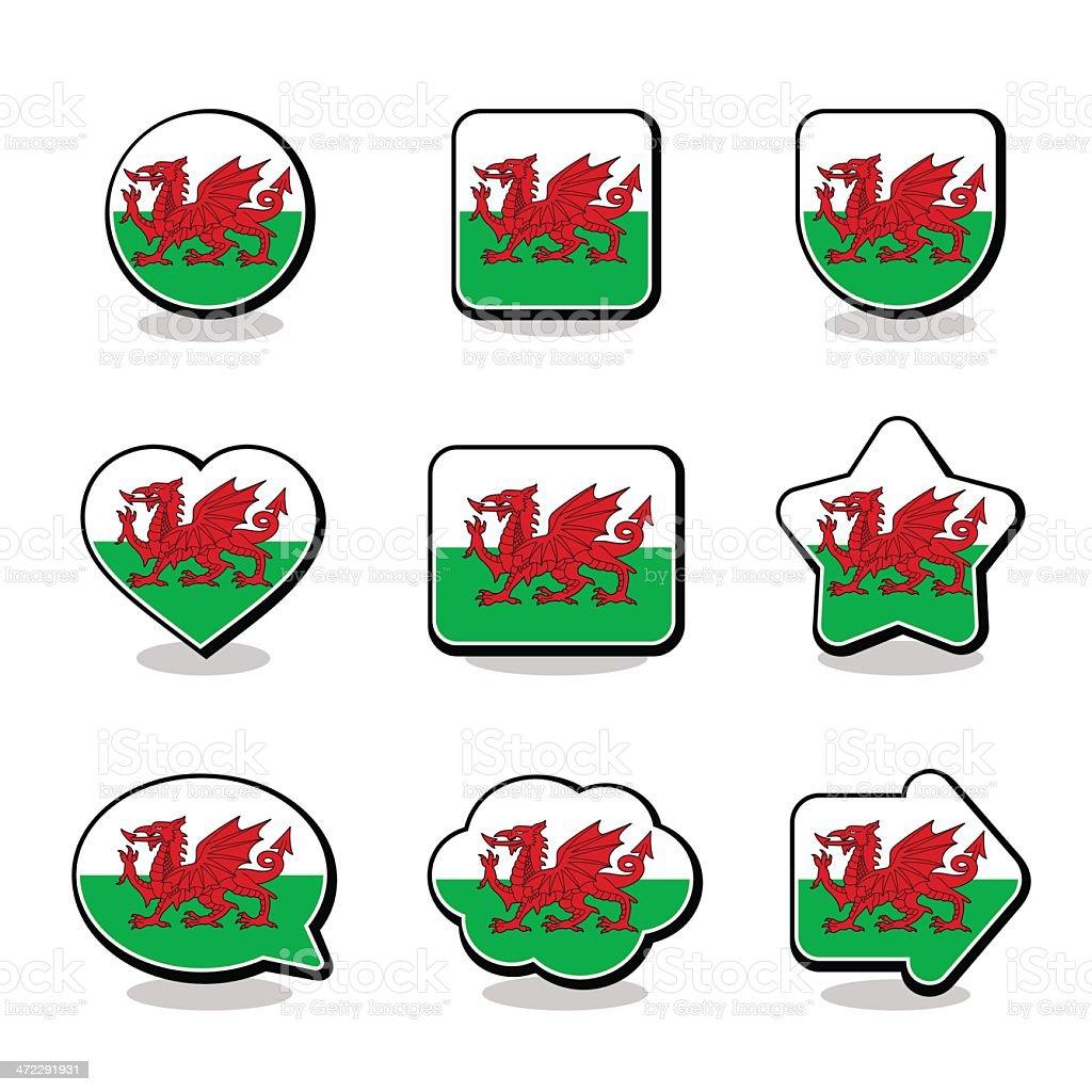 WALES FLAG ICON SET vector art illustration