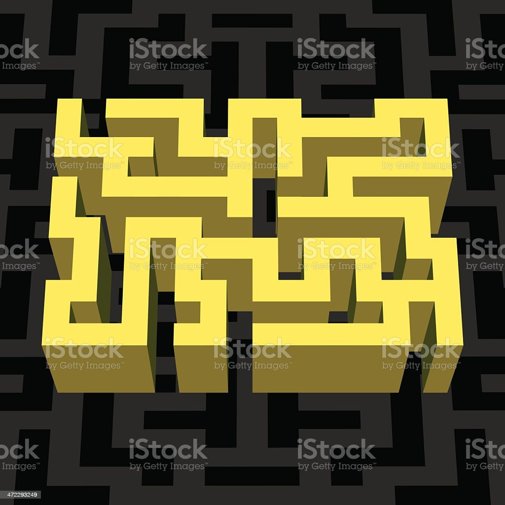 YELLOW 3D MAZE royalty-free yellow 3d maze stock vector art & more images of abstract