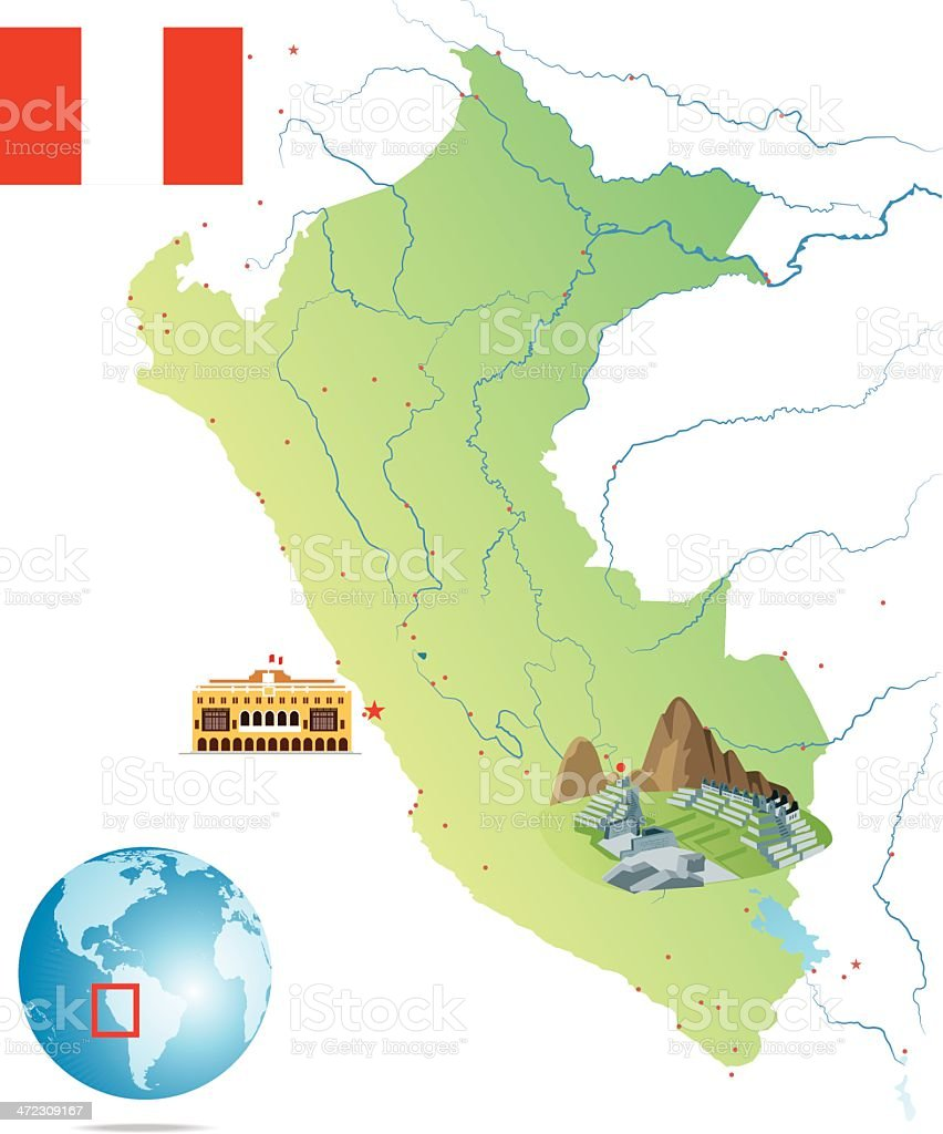PERU MAP royalty-free peru map stock vector art & more images of ancash region