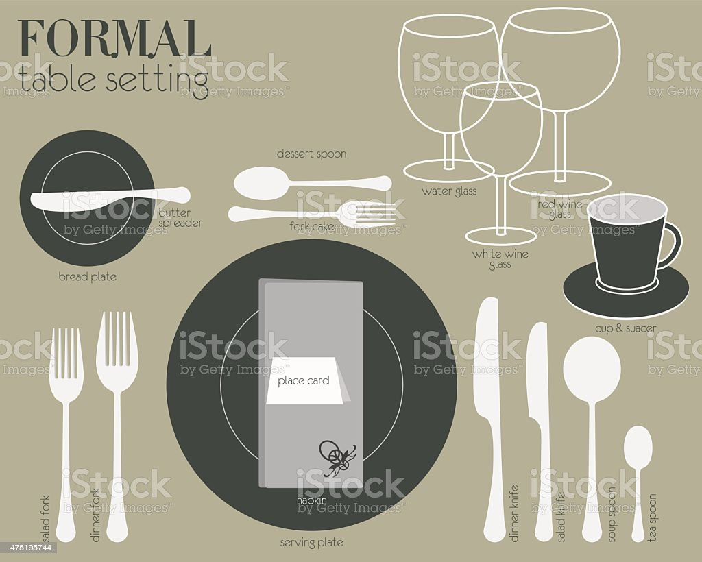 FORMAL TABLE SETTING vector art illustration