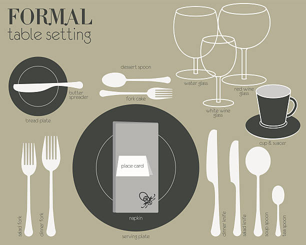 FORMAL TABLE SETTING Formal dining table setting with full equipped utensil are decorated in modern style. formalwear stock illustrations