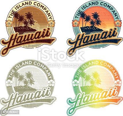 Hawaiian vintage emblem, set of four colors combinatios