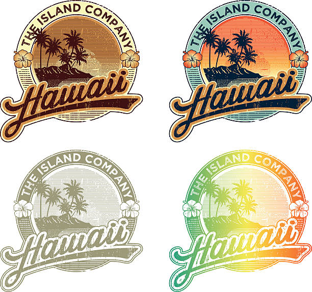 HAWAIIAN TROPICAL EMBLEM Hawaiian vintage emblem, set of four colors combinatios big island hawaii islands stock illustrations