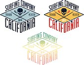 Set of california surfing composition, grunge style