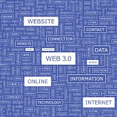 WEB 3.0. Concept illustration. Graphic tag collection. Wordcloud collage.