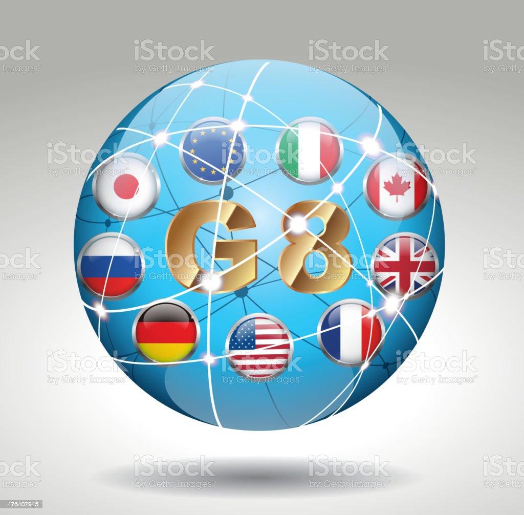 G8 (International organizations) vector art illustration
