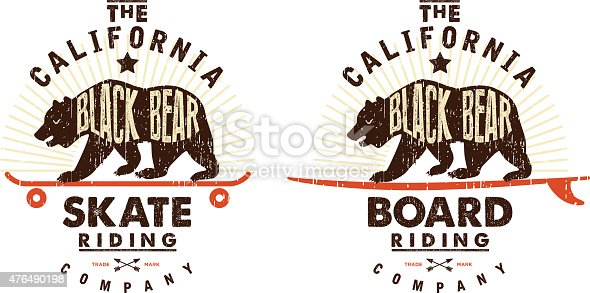 Old fashioned california emblem, with skate and surfboard