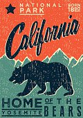vintage poster of california parks, with bear and mountains. Vintage style